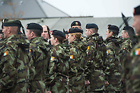 06/11/2014  Minister of State Mr Paul Kehoe T.D.  glances at two female soldiers  who are with Lebanon Bound 47th Infantry Group in Renmore Barracks, Galway. Photo:Andrew Downes