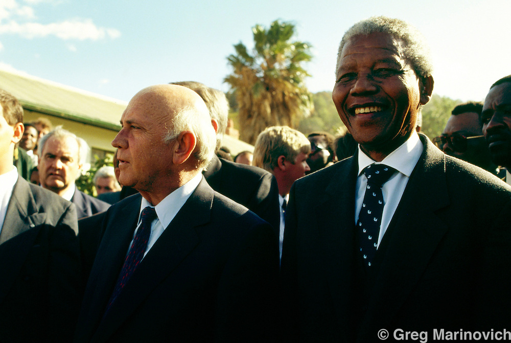 ANC leader Nelson Mandela with President F.W. de Klerk, South Africa, 1994