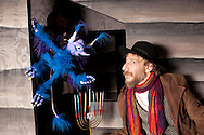 PHILADELPHIA - NOVEMBER 19:  Gas and Electric Arts production of Hershel and the Hanukkah Goblins actors (L-R) David M. Blatt pose for a photo with the puppet, November 19, 2011 in Philadelphia, Pennsylvania. (Photo by William Thomas Cain/cainimages.com for Gas and Electric Arts)