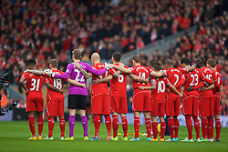 LIVERPOOL, ENGLAND - Saturday, November 8, 2014: Liverpool players stand to remember the victims of the two World Wars before the Premier League match against Chelsea at Anfield. (Pic by David Rawcliffe/Propaganda)