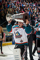 KELOWNA, CANADA - MAY 13: Jackson Whistle #1 of Kelowna Rockets skates with the WHL Championship trophy on May 13, 2015 during game 4 of the WHL final series at Prospera Place in Kelowna, British Columbia, Canada.  (Photo by Marissa Baecker/Shoot the Breeze)  *** Local Caption *** Jackson Whistle;