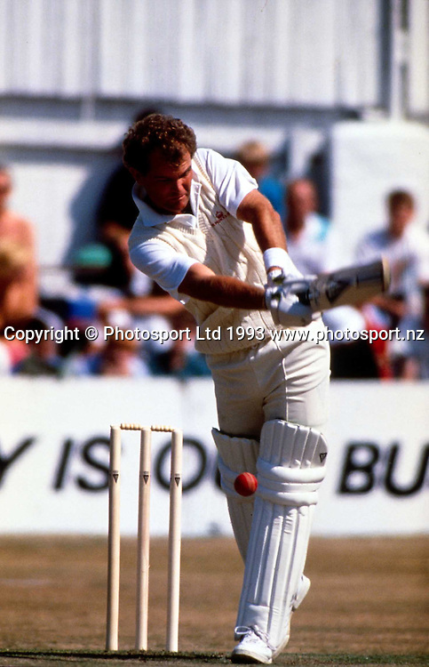 Martin Crowe bats during the cricket test match between New Zealand and Australia, 1992. Photo: Sport the Library/PHOTOSPORT
