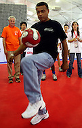 FORMER SOCCER PLAYER TEOFILO CUBILLAS (PERU) DURING SPORT EXPERIENCE INCLUDING SPECIAL OLYMPICS WORLD SUMMER GAMES SHANGHAI 2007..SPECIAL OLYMPICS IS AN INTERNATIONAL ORGANIZATION DEDICATED TO EMPOWERING INDIVIDUALS WITH INTELLECTUAL DISABILITIES..SHANGHAI , CHINA , OCTOBER 01, 2007.( PHOTO BY ADAM NURKIEWICZ / MEDIASPORT )..
