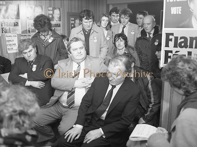 Image of Fianna Fáil leader Charles Haughey touring West Cork during his 1982 election campaign...04/02/1982.02/04/82.4th February 1982..Meeting the press:..Charles Haughey being interviewed by journalists while supporters look on.