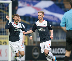 Falkirk's Craig Sibbald celebrates after scoring their first goal.<br /> Falkirk 3 v 1 Raith Rovers, Scottish Championship game at The Falkirk Stadium.