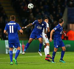 Danny Simpson of Leicester City wins a header above Jelle Vossen of Club Brugge - Mandatory by-line: Matt McNulty/JMP - 22/11/2016 - FOOTBALL - King Power Stadium - Leicester, England - Leicester City v Club Brugge - UEFA Champions League