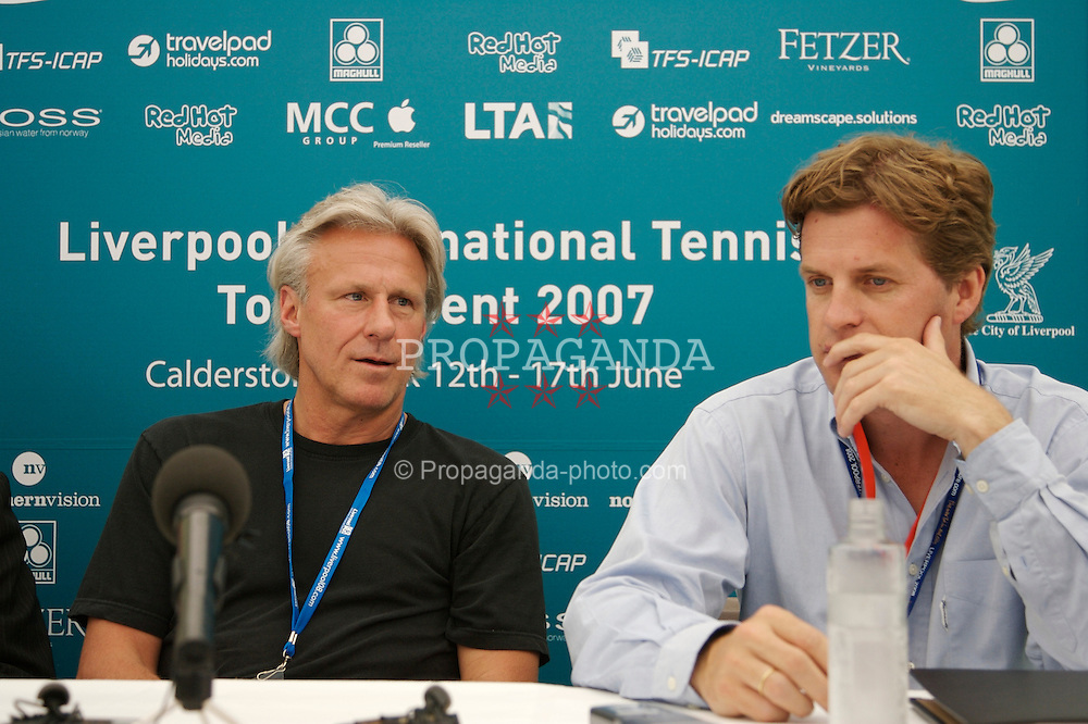 Liverpool, England - Wednesday, June 13, 2007: Tournament Director Anders Borg and Bjorn Borg at a press conference on day two of the Liverpool International Tennis Tournament at Calderstones Park. Bjorn was scheduled to play his first match on grass since 1981 but was forced to withdraw after a dog bit his leg. For more information visit www.liverpooltennis.co.uk. (Pic by David Rawcliffe/Propaganda)