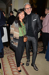 PATRICK COX and SOJIN LEE at a party to kick off London Fashion Week hosted by US Ambassador Matthew Barzun and Mrs Brooke Brown Barzun with Alexandra Shulman in association with J.Crew hrld at Winfield House, Regent's Park, London on 18th September 2015.