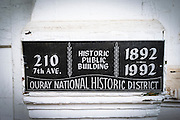 Historic plaque in the Ouray National Historic District, Ouray, Colorado USA