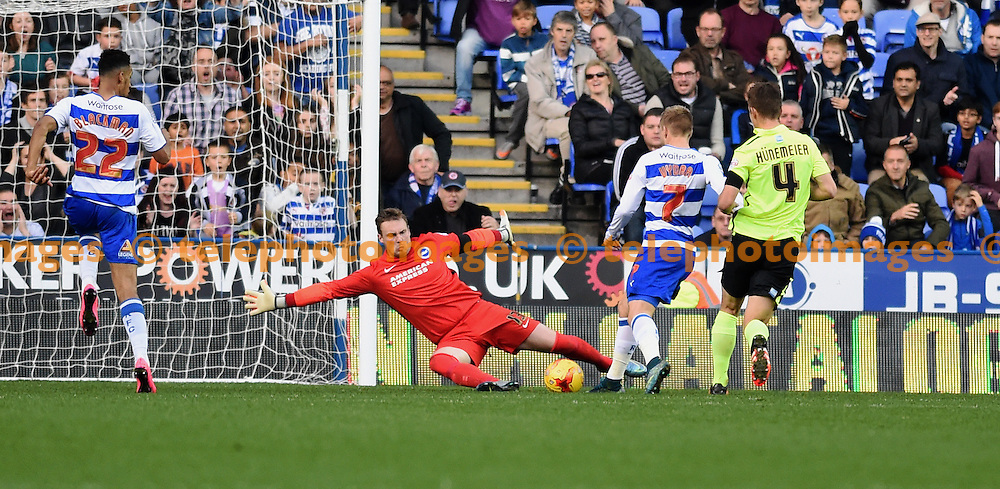 Brighton goalkeeper David Stockdale makes a good save from Matej Vydra of Reading during the Sky Bet Championship match between Reading and Brighton and Hove Albion at the Madejski Stadium in Reading. October 31, 2015.<br /> Simon  Dack / Telephoto Images<br /> +44 7967 642437