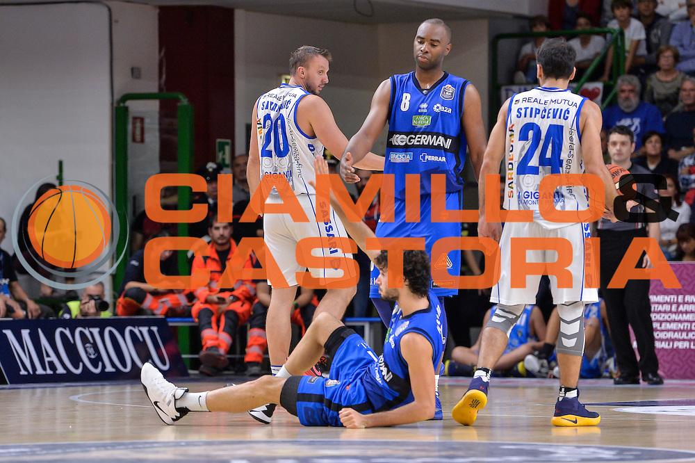 Marcus Landry, Michele Vitali<br /> Dinamo Banco di Sardegna Sassari - Germani Basket Brescia Leonessa<br /> Lega Basket Seire A 2016/2017<br /> Sassari 15/10/2016<br /> Foto Ciamillo-Castoria