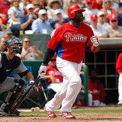 March 1, 2011; Clearwater, FL, USA; Philadelphia Phillies first baseman Ryan Howard (6) during a spring training exhibition game against the Detroit Tigers at Bright House Networks Field  Mandatory Credit: Derick E. Hingle