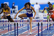 Hampton junior Breana Norman during the Women's 60 Meter Hurdles during the 2013 MEAC Men's and Women's Indoor Track and Field Championships at the Prince George's Sports and Learning Complex in Landover, Maryland.  February 15, 2013  (Photo by Mark W. Sutton)
