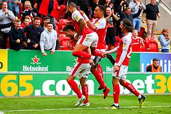 Rotherham United players celebrate - Mandatory by-line: Ryan Crockett/JMP - 15/09/2018 - FOOTBALL - Aesseal New York Stadium - Rotherham, England - Rotherham United v Derby County - Sky Bet Championship