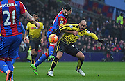 Mile jedinak battles for posession during the Barclays Premier League match between Crystal Palace and Watford at Selhurst Park, London, England on 13 February 2016. Photo by Michael Hulf.
