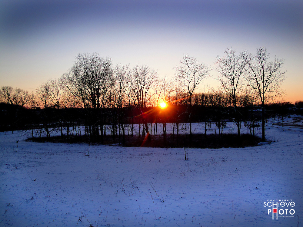 Winter sunset over Baxter Park in Madison, Wisconsin.