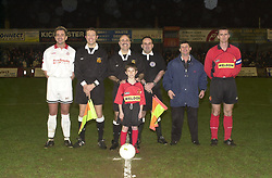 LINE UP CAPTAINS OFFICIALS AND MASCOT, KETTERING TOWN, Kettering Town v Ilkestone Rockingham Road,  19th March 2002,