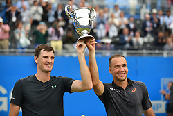 June 25, 2017 - Bruno Soares of Brasil (R) and Jamie Murray of Great Britain celebrate with the Trophy the victory in Double Men's final of AEGON Championships, against Julien Benneteau and Edouard Roger Vasselin of France, at Queen's Club, London, on June 25, 2017. (Credit Image: © Alberto Pezzali/NurPhoto via ZUMA Press)