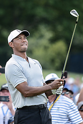 August 10, 2018 - Town And Country, Missouri, U.S - TIGER WOODS from Jupiter Florida, USA watches his tee shot from hole number three during round two of the 100th PGA Championship on Friday, August 10, 2018, held at Bellerive Country Club in Town and Country, MO (Photo credit Richard Ulreich / ZUMA Press) (Credit Image: © Richard Ulreich via ZUMA Wire)