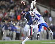 Ole Miss' Nickolas Brassell (2) defends on a pass to Louisiana Tech's Dave Clark (24) in Oxford, Miss. on Saturday, November 12, 2011.