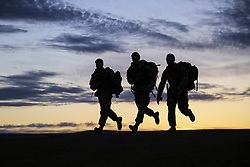 Apr 22, 2017 - Yakima, Washington, U.S. - Morning March. Soldiers participate in a 7.5-mile ruck march at Yakima Training Center, Wash., April 22, 2017. The soldiers aimed to complete the march in under two hours while carrying a 35-pound sack. Army photo by Sgt. Kalie Jones. (Credit Image: ? Sgt. Kalie Jones/DoD via ZUMA Wire/ZUMAPRESS.com)
