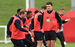England's Harry Maguire (centre) during the training session at St Georges' Park, Burton. PRESS ASSOCIATION Photo. Picture date: Monday September 10, 2018. See PA story SOCCER England. Photo credit should read: Mike Egerton/PA Wire. RESTRICTIONS: Use subject to FA restrictions. Editorial use only. Commercial use only with prior written consent of the FA. No editing except cropping.