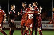 Crawley celebrate their second during the Sky Bet League 2 match between Crawley Town and Newport County at the Checkatrade.com Stadium, Crawley, England on 1 March 2016. Photo by Michael Hulf.