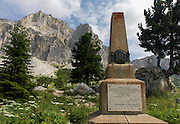 With a backdrop of the Lagazuoi Dolomites peak (2,835), is the memorial to those killed here during heavy fighting on Passo Falzarega (Pass), during the first world war, in the Dolomites, south Tyrol, Italy. The Falzarego Pass is a high mountain pass in the province of Belluno in Italy and connecting Andráz and Cortina d'Ampezzo. Lagazuoi (2,835) is a mountain in the Dolomites of northern Italy, lying at an altitude of 2,835 metres (9,301 ft), about 18 kilometres (11 mi) southwest by road from Cortina d'Ampezzo in the Veneto Region. It is accessible by cable car and contains the Refugio Lagazuoi, a mountain refuge situated beyond the northwest corner of Cima del Lago. The mountain range is well known for its wartime tunnels.