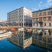 Buildings overlooking the Gran Canale in Trieste, Italy