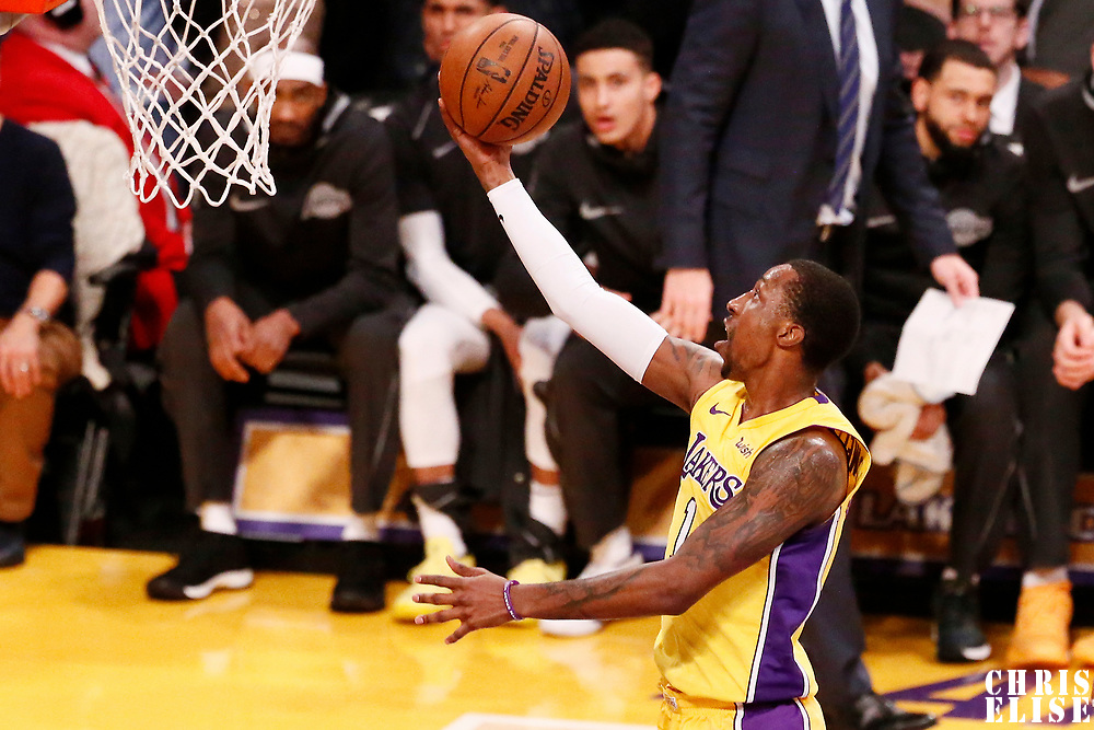 09 January 2018: Los Angeles Lakers guard Kentavious Caldwell-Pope (1) goes for the layup during the LA Lakers 99-86 victory over the Sacramento Kings, at the Staples Center, Los Angeles, California, USA.
