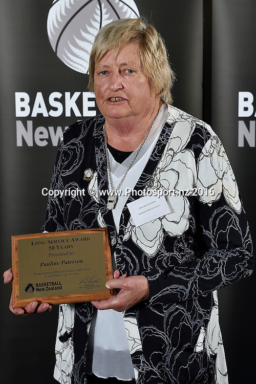 Pauline Paterson receives a Long Service Award for 50 years during the Basketball New Zealand awards evening at the Mercure Hotel in Wellington on Friday the 20th of May 2016. Copyright Photo by Marty Melville / www.Photosport.nz