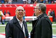 Tampa Bay Buccaneers owners Bryan Glazer and Joel Glazer ahead of an NFL International Series gameagainst the Carolina Panthers  at Tottenham Hotspur Stadium, Sunday, Oct. 13, 2019, in London.  The Panthers defeated the Buccaneers 37-26. (Gareth Williams/Image of Sport)