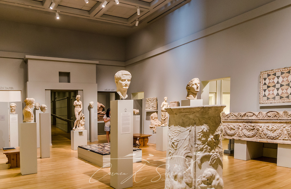 Sculptures are displayed in the Greek and Roman Art gallery at the C. Carlos Museum at Emory University, July 8, 2014, in Atlanta, Georgia. The museum was founded in 1876 and contains more than 17,000 artifacts in its permanent collections. (Photo by Carmen K. Sisson/Cloudybright)