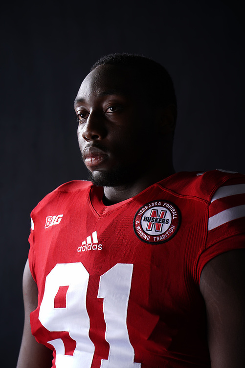 Freedom Akinmoladun #67 during a portrait session at Memorial Stadium in Lincoln, Neb. on June 6, 2017. Photo by Paul Bellinger, Hail Varsity