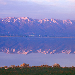 Syracuse, UT. Utah's Great Salt Lake and the Wasatch Range as seen from Antelope Island State Park.