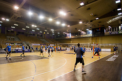 Players of OK Calcit Volley during 1st Leg volleyball match between ACH Volley and OK Calcit Volley in Final of 1. DOL Slovenian National Championship 2017/18, on April 17, 2018 in Hala Tivoli, Ljubljana, Slovenia. Photo by Urban Urbanc / Sportida