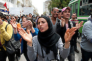 Protest for freedom of speech and against Salafi by revolutionary students in Tunis..Manifestation pour la liberté d'expression d'étudiants à Tunis