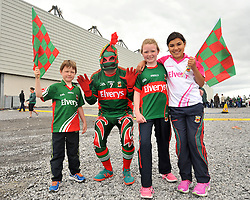 Mayo fans from Bofeenaun, at the Connacht Final in Dr. Hyde Park <br /> Eanna Coyne, Enda Coyne aka 'The Rooster' Katie Coyne and Hannah Singh.<br /> Pic Conor McKeown