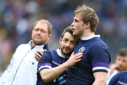 March 17, 2018 - Rome, Italy - Rugby NatWest 6 Nations: Italy v Scotland.Greig Laidlaw and Jonny Gray of Scotland celebration at Olimpico Stadium in Rome, Italy on March 17, 2017. (Credit Image: © Matteo Ciambelli/NurPhoto via ZUMA Press)