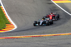 August 27, 2017 - Spa, Belgium - 44 HAMILTON Lewis from Great Britain of team Mercedes GP defending of the attack of 05 VETTEL Sebastian from Germany of scuderia Ferrari during the Formula One Belgian Grand Prix at Circuit de Spa-Francorchamps on August 27, 2017 in Spa, Belgium. (Credit Image: © Xavier Bonilla/NurPhoto via ZUMA Press)