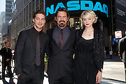 NEW YORK - SEPTEMBER 20:  (L-R) Actorts Shia LaBeouf, Josh Brolin and Carey Mulligan  pose for a photo outside  NASDAQ MarketSite on September 20, 2010 in New York City.  (Photo by Joe Kohen/WireImage)