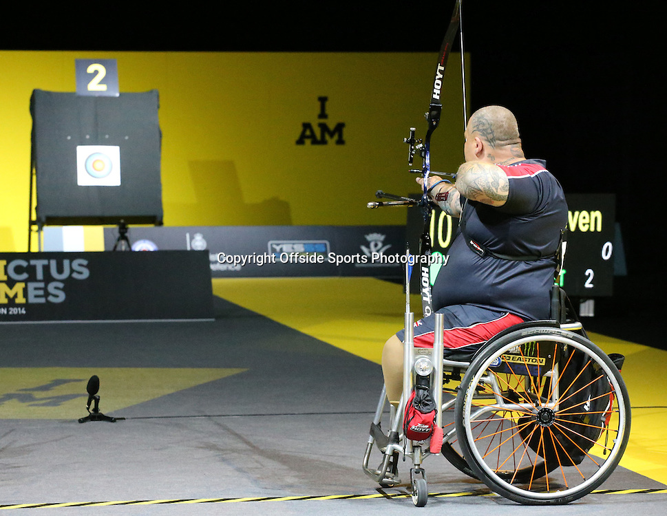 12 September 2014 - Invictus Games Day 2 - Steven Gill of Team GB lines up his arrow in the archery.<br /> <br /> Photo: Ryan Smyth/Offside