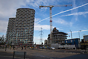 A construction site with a large crane building the new Pump Tower in Royal Victoria Dock, London, England, United Kingdom. Pump Tower will be residential apartments being developed by City and Docklands Property Group. (photo by Andrew Aitchison / In pictures via Getty Images)