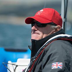 2012 Olympic Games London / Weymouth<br /> Finn Medal Race<br /> David Howlett coch from<br /> Ainslie Ben, (GBR, Finn)