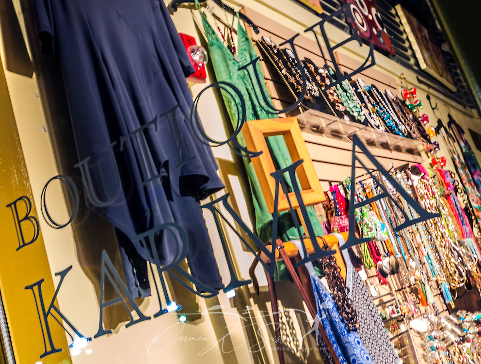 A window display is pictured at Boutique Karma, June 4, 2014, in Decatur, Georgia. (Photo by Carmen K. Sisson/Cloudybright)