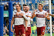 Goal - Matthew Kilgallon (5) of Bradford City celebrates scoring a goal to give a 0-1 lead to the away team during the EFL Sky Bet League 1 match between Portsmouth and Bradford City at Fratton Park, Portsmouth, England on 28 October 2017. Photo by Graham Hunt.