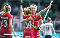 ANTWERP -    Emilie Sinia (14) from Belgium  scored and celebrates with Stephanie vanden Borre (r) and Alix Gerniers (l) , during  the match of Belgium v Poland .   WSP COPYRIGHT KOEN SUYK