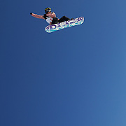 Spencer O' Brien, Canada, in action during the Snowboard Slopestyle Ladies competition at Snow Park, New Zealand during the Winter Games. Wanaka, New Zealand, 21st August 2011. Photo Tim Clayton