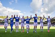 DOETINCHEM, De Graafschap - Willem II, voetbal, Eredivisie seizoen 2015-2016, 27-09-2015, Stadion De Vijverberg, spelers van de Graafschap vieren het gelijke spel als een overwinning en bedanken de fanatieke supporters.