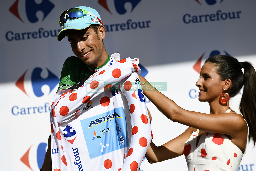 July 7, 2017 - Nuits-Saint-Georges, FRANCE - Italian Fabio Aru of Astana Pro Time pictured on the podium wearing the polka-dot jersey for the best climber after the seventh stage of the 104th edition of the Tour de France cycling race, 213,5 km from Troyes to Nuits-Saint-Georges, France, Friday 07 July 2017. This year's Tour de France takes place from July first to July 23rd. BELGA PHOTO YORICK JANSENS (Credit Image: © Yorick Jansens/Belga via ZUMA Press)